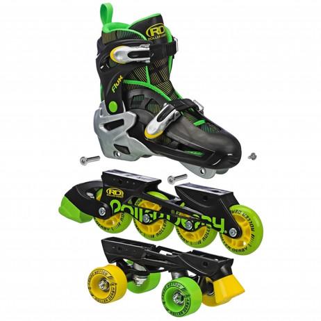 Roller Derby - Flux Boys 2in1 Inline or Quad Size Adjustable Skates