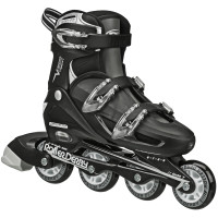 Roller Derby - V-Tech 500 Boys Size Adjustable Inline Skates Black White (Large 6-9)