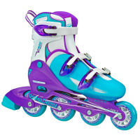 Roller Derby - V-Tech 500 Girls Size Adjustable Inline Skates Blue Purple (Large 6-9)