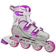 Roller Derby - V-Tech 500 Girls Size Adjustable Inline Skates Grey Purple (Large 6-9)