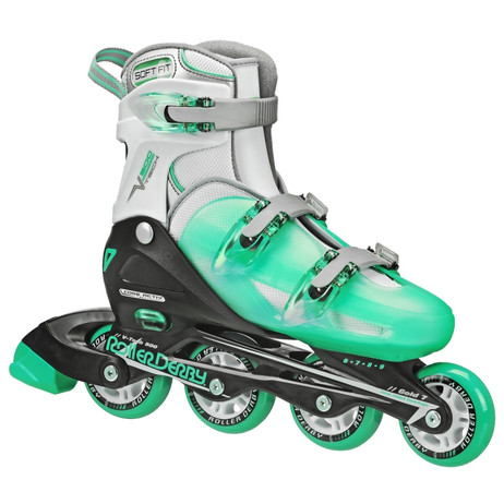 Roller Derby - V-Tech 500 Girls Size Adjustable Inline Skates Mint (Large 6-9)