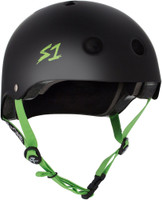 S1 Lifer Helmet - Black Matte with Bright Green Straps