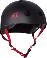 S1 Lifer Helmet - Black Matte with Red Straps