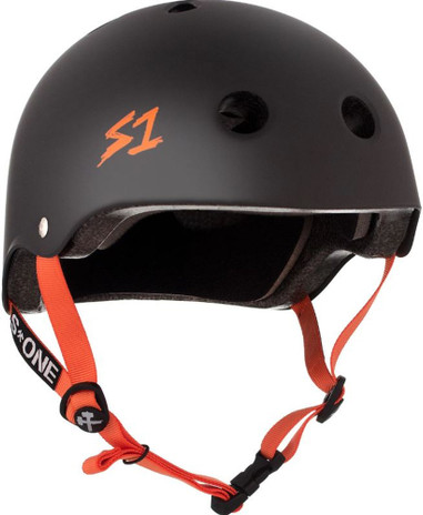S1 Lifer Helmet - Black Matte with Orange Straps