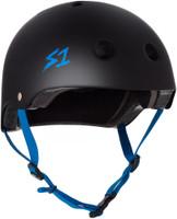 S1 Lifer Helmet - Black Matte with Cyan  Straps