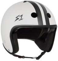 S1 Retro Lifer Helmet - White Matte with Black Stripes