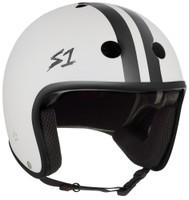 S1 Retro Lifer Helmet - White Matte with Black Stripes
