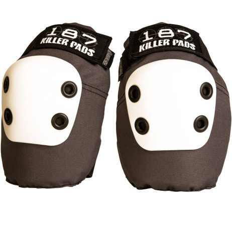 187 Killer Pads Slim Elbow Pads - Grey w/ White Cap