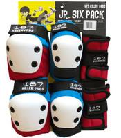 187 Killer Pads Jr Six Pack - Red / White / Blue