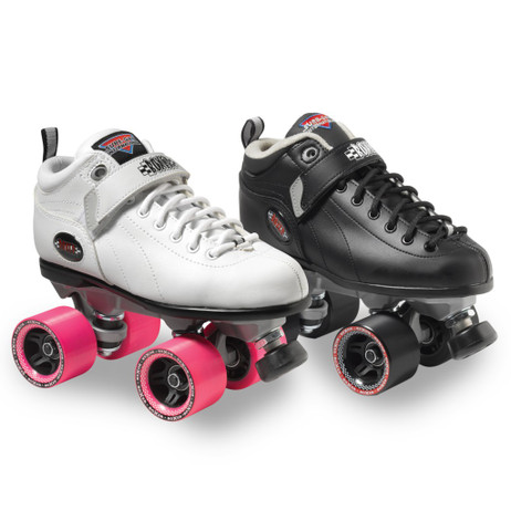 Sure-Grip Quad Roller Skates - Boxer-Size 9-White with Pink Wheels *25% OFF*