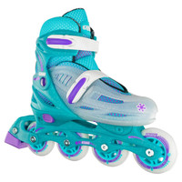 Adjustable Inline Roller Skates - 148 Teal Glitter