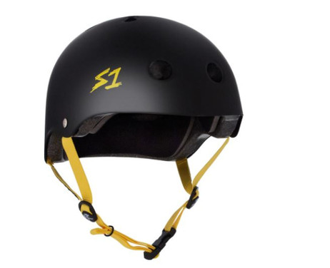 S1 Lifer Helmet - Black Matte w/ Yellow Straps