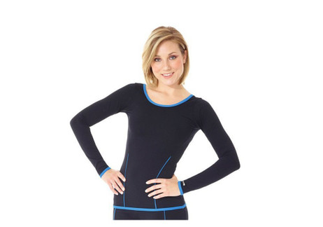 Mondor 34828 Long Sleeve Figure Skating Top Mesh & Color - Navy White