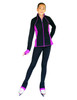 "ChloeNoel Figure Skating Outfit - JS792 Color Contrast Elite Figure Skating Jacket w/ Pockets & Thumb Holes and PS792 3"" Waist Band Black/Color Cuffs Elite Figure Skating Pants & Front Pocket 3th view"