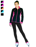 "ChloeNoel Figure Skating Outfit - JS792 Color Contrast Elite Figure Skating Jacket w/ Pockets & Thumb Holes and PS792 3"" Waist Band Black/Color Cuffs Elite Figure Skating Pants & Front Pocket"