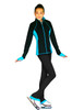 """ChloeNoel Figure Skating Outfit - JS792 Color Contrast Elite Figure Skating Jacket w/ Pockets & Thumb Holes and PS792 3"""" Waist Band Black/Color Cuffs Elite Figure Skating Pants & Front Pocket 5th view"""
