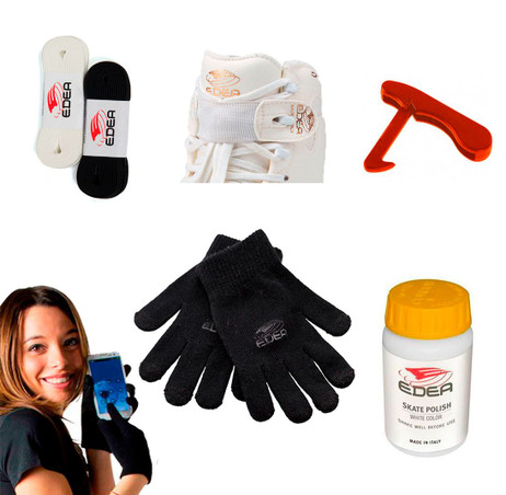 Accessories Package 2 (Edea) - Laces, Lace Strap, Black Gloves Cellphone touch , Skate Hook, Skate Polish
