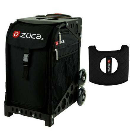 Zuca Sport Bag - Obsidian with Gift  Black/Pink Seat Cover (Black Non-Flashing Wheels Frame)