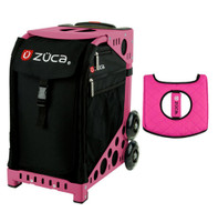 Zuca Sport Bag - Obsidian with Gift  Black/Pink Seat Cover (Pink Frame)