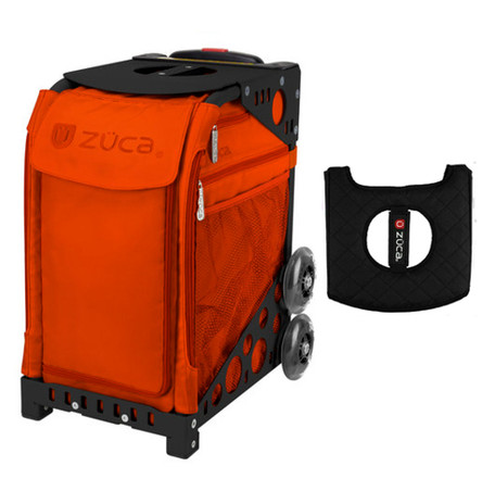 Zuca Sport Bag - Persimmon with Gift  Black/Pink Seat Cover (Black Non-Flashing Wheels Frame)