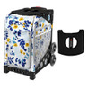 Zuca Sport Bag - Boho Floral  with Gift  Black/Pink Seat Cover (Black Non-Flashing Wheels Frame)