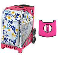 Zuca Sport Bag - Boho Floral  with Gift  Black/Pink Seat Cover (Pink Frame)