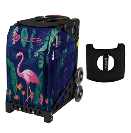 Zuca Sport Bag - Flamingo with Gift  Black/Pink Seat Cover (Black Non-Flashing Wheels Frame)
