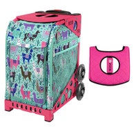 Zuca Sport Bag - Llama Rama with Gift  Black/Pink Seat Cover (Pink Frame)
