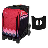 Zuca Sport Bag - Pink Diamonds with Gift Black/Pink Seat Cover (Black Frame)