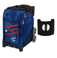 Zuca Sport Bag - Puerto Rico with Gift  Black/Pink Seat Cover (Black Non-Flashing Wheels Frame)