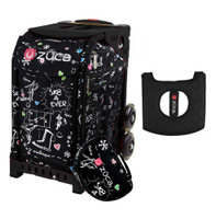 Zuca Sport Bag - Sk8 Black (Limited Edition) with Gift  Black/Pink Seat Cover (Black Non-Flashing Wheels Frame)