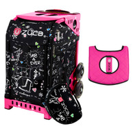 Zuca Sport Bag - Sk8 Black (Limited Edition) with Gift  Black/Pink Seat Cover (Pink Frame)
