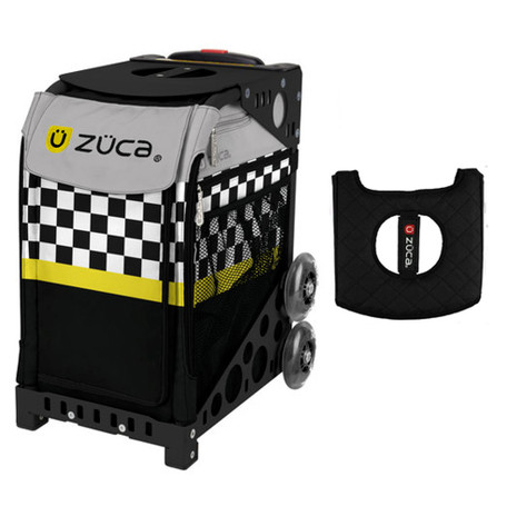 Zuca Sport Bag - SK8ter Block with Gift  Black/Pink Seat Cover (Black Non-Flashing Wheels Frame)