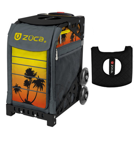 Zuca Sport Bag - Tropical Sunset with Gift  Black/Pink Seat Cover (Black Non-Flashing Wheels Frame)