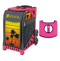 Zuca Sport Bag - Tropical Sunset with Gift  Black/Pink Seat Cover (Pink Frame)