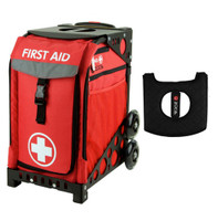 Zuca Sport Bag - First Aid with Gift  Black/Pink Seat Cover (Black Non-Flashing Wheels Frame)