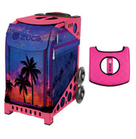 Zuca Sport Bag - Island Life with Gift  Black/Pink Seat Cover (Pink Frame)