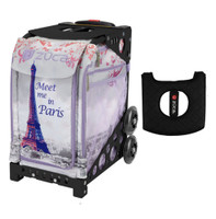 Zuca Sport Bag - Meet Me In Paris with Gift  Black/Pink Seat Cover (Black Non-Flashing Wheels Frame)