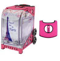 Zuca Sport Bag - Meet Me In Paris with Gift  Black/Pink Seat Cover (Pink Frame)