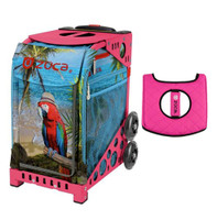 Zuca Sport Bag - Parrotdise with Gift  Black/Pink Seat Cover (Pink Frame)