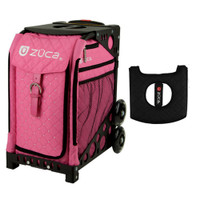 Zuca Sport Bag - Pink Hot with Gift  Black/Pink Seat Cover (Black Non-Flashing Wheels Frame)