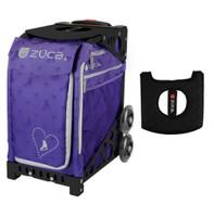 Zuca Sport Bag - Skates & Bows with Gift  Black/Pink Seat Cover (Black  Frame)