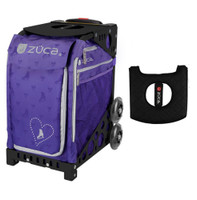 Zuca Sport Bag - Skates & Bows with Gift  Black/Pink Seat Cover (Black Non-Flashing Wheels Frame)