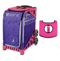 Zuca Sport Bag - Skates & Bows with Gift  Black/Pink Seat Cover (Pink Frame)