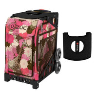 Zuca Sport Bag - Giraffe Me Crazy with Gift  Black/Pink Seat Cover (Black Non-Flashing Wheels Frame)