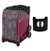 Zuca Sport Bag - Peace Now with Gift  Black/Pink Seat Cover (Black Non-Flashing Wheels Frame)