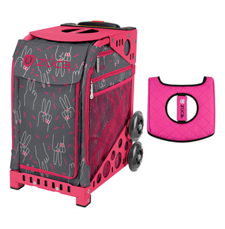 275c059a1c42 Zuca Sport Bag - Peace Now with Gift Black/Pink Seat Cover (Black  Non-Flashing Wheels Frame)