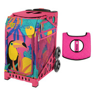 Zuca Sport Bag - Toucan Dream with Gift  Black/Pink Seat Cover (Pink Frame)