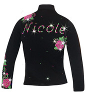 "Personalized Ice skating jacket with ""Roses Swirls"" Design"