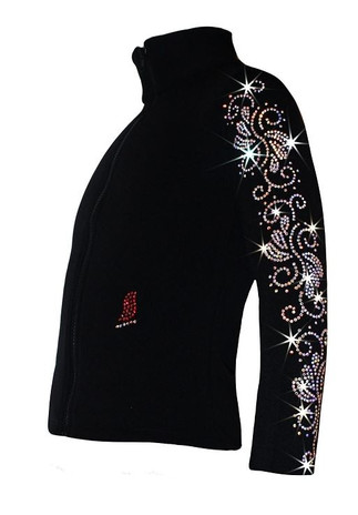 "Ice Skating Jacket with ""Crystals Swirls"" Rhinestones Design"